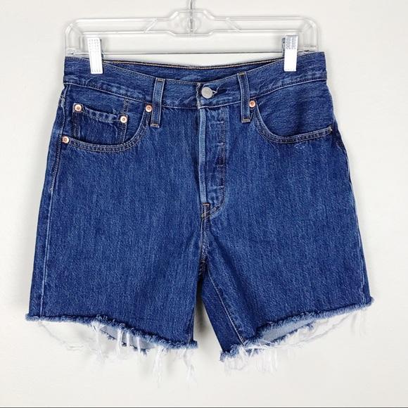 Levi's 501 Button Fly Cut Off Denim Shorts 27